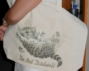 Tote bag with kitty print