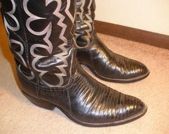 Tony Lama Lizard Black Cowboy Boots