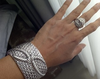 Rope knot style sterling silver 925 cuff