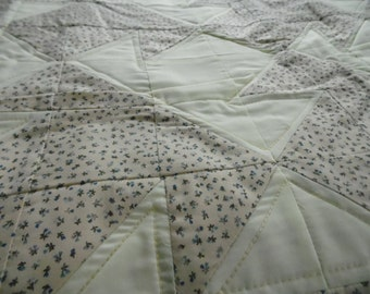 Cream And Lilac Baby Quilt