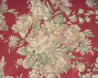 VINTAGE SANDERSON FABRIC..floral linen..cushion or re-work..English Country House..chintz..cottage chic..1940s 1950s..maroon rust green pink
