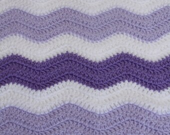 Crochet Baby Blanket - Light Purple, White and Purple - Chevron Pattern - READY TO SHIP