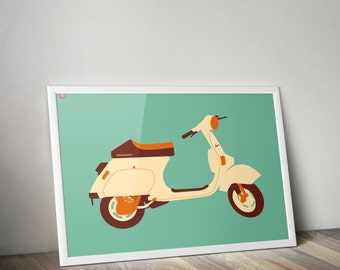 Vespa scooter print, Vespa scooter poster, wand decoratie, art