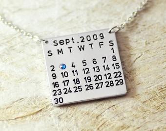 Calendar necklace, birthstone necklace, birthday necklace, handstamped necklace, birthday gift