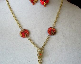 Gold Leaf and Orange Y Necklace