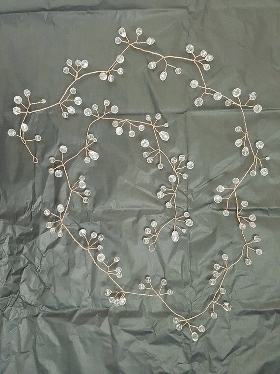 long rose gold tone and crystal 30 inch hair vine