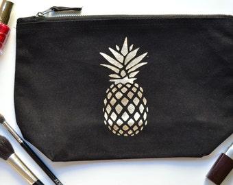 Gold Pineapple Makeup Bag | Best Friend Gift | Large Toiletry Bag | Pineapple Gifts | Makeup Bag with Pineapple