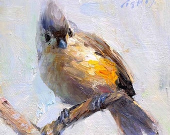 Titmouse Bird 6x6 Print on Watercolor Paper with Deckled Edge or Giclee
