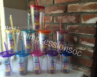 FREE SHIPPING Set of (10) LuLaRoe tumbler cups with straw - consultant marketing promotion gift