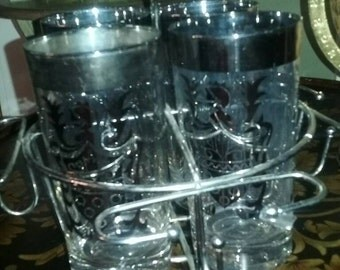 Vintage Kimiko Silver Barware Highball Glasses With Caddy