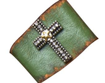 Leather Cuff 103-Large Rhinestone Cross