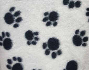 White and Black Paw Print Fleece Fabric by the Yard