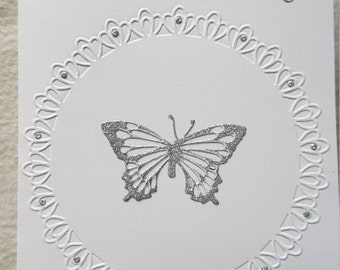 White embossed butterfly and bee card