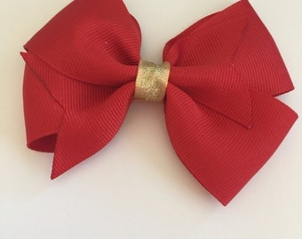 Red and gold hair bow