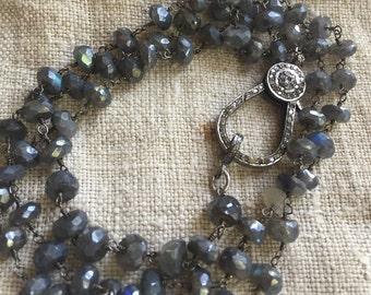 Stunning Labradorite and Diamond Clasp Necklace/Bracelet