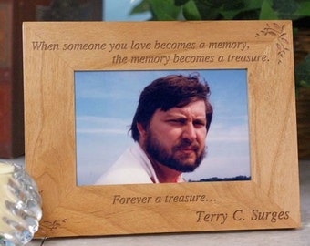 Personalized Memorial Picture Frames Engraved Wood Memorial Frame, Your Memory becomes a Treasure Photo Frame