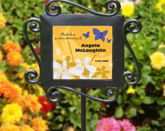 Personalized Butterfly's Memorial Garden Stake Planted In Memory Of Garden Marker
