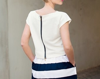 White women top - stylish women top - summer everyday top - zipped back top - short sleeves blouse - white elegant top - ND112