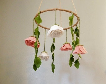 Baby Nursery Flower Mobile with Pink Flowers