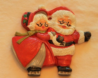 Mr. and Mrs. Claus ornament, Christmas ornament, ceramic ornament, Santa ornament