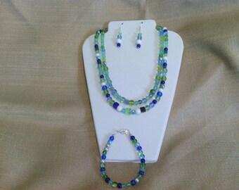 266 Aqua Seas Beaded Necklace