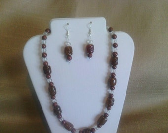 244 Fun Style Brown Clay and Gold/Brown Agate Beaded Choker