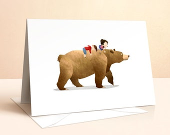 Wild Adventure - Bear Card | Birthday Card | Kids Birthday | Nursery Art | Greeting Card | Bear Print | Bear Card | Art Card | Childrens Art