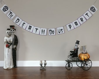 Sugar Skull Banner, Day of the Dead Banner, ADD ON tiles for Til Death Do Us Part only Halloween Banner, Halloween Wedding Banner