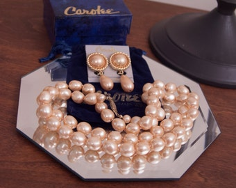 Carolee Faux Pearl Single Strand Necklace and Clip Earrings, Signed