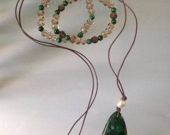 Malachite, Pearl and Beads Neclace and Bracelet Set