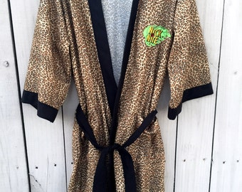 Vintage Nick at Nite leopard print robe • Rare Retro Nickelodeon • One Size Fits All