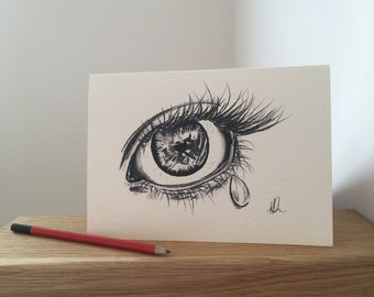 A tear for sadness but an eye that has seen much love, happiness and laughter- A5 Greetings card