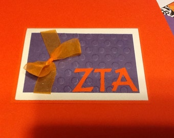 Clemson ZTA Textured and Ribbon Embellished card