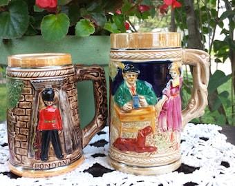 Vintage Beer Mug, Beer Stein Mug, Vintage Ceramic Beer Mug, London Guard Beer Mug, Made in Japan Beer Stein Mug, Set of 2 Beer Mugs, Steins