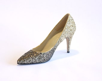 ANGELA.Italian glitter fabric stiletto. 9cm. handmade bridal shoes. wedding shoes. party shoes