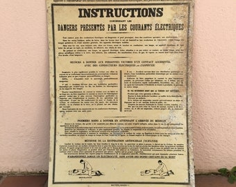 French metal sign industry vintage ADVERTISING electric dangers instructions