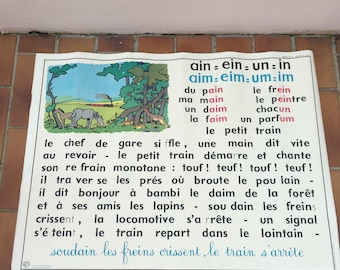 Vintage French School Poster 2 sides french lesson 1