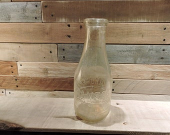 Vintage Chardavoyne Janssen Milk Bottle , One Quart Milk Bottle, Antique Milk Bottle