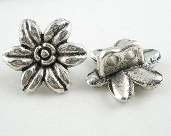 """10 """"Flower"""" - 14 mm - antique silver beads / i1-0175"""