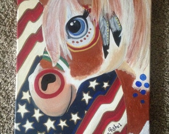 American Rebel Native American Indian Paint Horse Pony Canvas