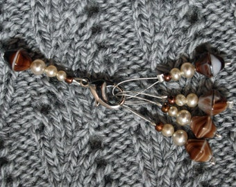 Knitting stitch marker set: Caramel&Cream