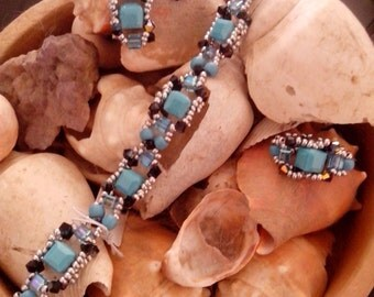 turquoise ornament earring bracelet ring swarovsky - dress turquoise earring Bracelet ring swarovsky