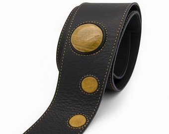 Black leather guitar strap, custom guitar strap - the LUV CHILD