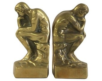 The Thinker - Brass Bookends