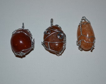 Red/Orange/Peach Carnelian Wire Wrap Necklace (ONE)