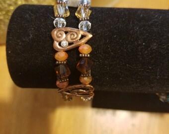 Handmade double strand beaded bracelet