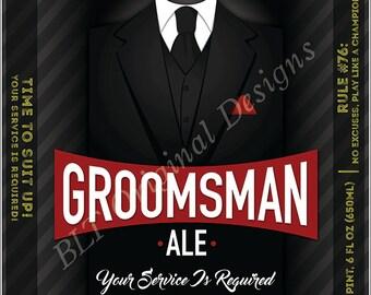 Groomsman/Best Man Beer Bottle Label