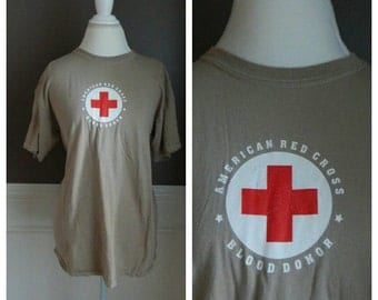 90s Grunge Tshirt Vintage Red Cross Blood Donor