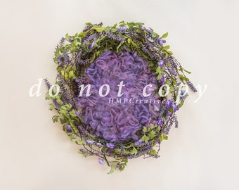 Purple Floral Wreath Newborn Digital Backdrop
