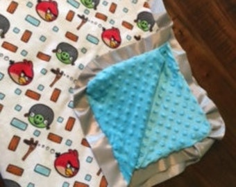 Toddler Blanket w Angry Birds & Minky